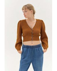 Urban Outfitters Uo Puff Sleeve Cardigan - Brown