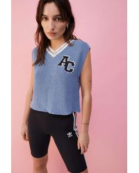 Urban Outfitters Uo Varsity Knitted Vest - Blue