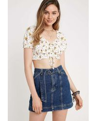 39eb661ae Urban Outfitters. BDG - Indigo Belted Denim Mini Skirt - Lyst