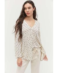 Urban Outfitters Uo Spirit V-neck Babydoll Blouse - Multicolor