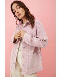 BDG Lucia Lavender Corduroy Shacket - Pink