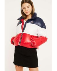 Levi's - Sam Red And Blue Puffer Jacket - Womens Xs - Lyst