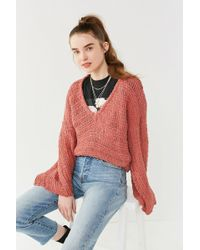 Urban Outfitters - Uo Tahiti Bell-sleeve Fringe Sweater - Lyst