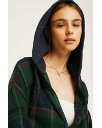 BDG - Darcy Plaid Flannel Hooded Button-through Shirt - Lyst