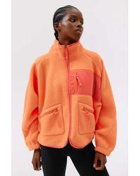 Urban Outfitters Uo Stormy Fleece Jacket - Orange