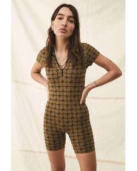 iets frans... Monogram Zip-collar Bodysuit - Brown