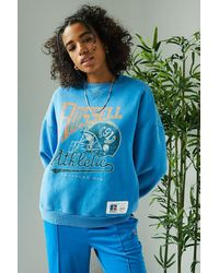 Russell Athletic Uo Exclusive Football 91 Blue Crew Neck Sweatshirt
