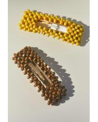 Urban Outfitters Olivia Beaded Snap Clip Set - Yellow
