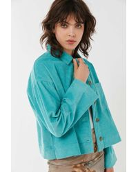 Urban Outfitters Uo Clark Corduroy Button-down Shirt Jacket - Blue