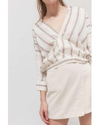 Urban Outfitters Uo Lennox Surplice Cropped Blouse - Multicolor