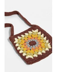 Urban Outfitters Uo Square Crochet Crossbody Bag - Brown