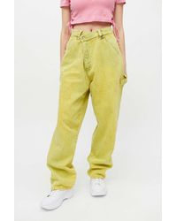 Urban Renewal Recycled Overdyed Acid Wash Crossover Jean - Yellow