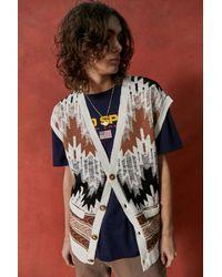 Urban Outfitters Uo Ecru Geo Print Sweater Vest - Multicolour