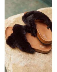 Urban Outfitters Crossed Faux Fur Slide - Black