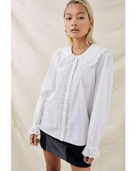 Urban Outfitters Uo Aimee Broderie Collar Blouse - White
