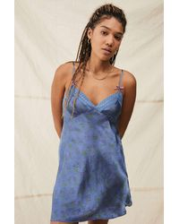 Urban Outfitters Uo Nellie Satin Floral Print Slip Dress - Blue