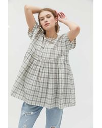 Urban Outfitters Uo Cody Checkered Babydoll Blouse - Gray