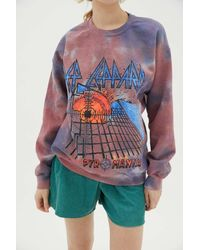 Urban Outfitters Def Leppard Pyromania Crew Neck Sweatshirt - Pink
