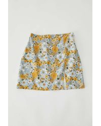 Urban Outfitters Uo Darren Notched Linen Mini Skirt - Multicolor