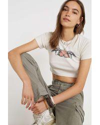 ba53f2cb90 Uo Rose Tattoo Crop Baby T-shirt - Womens M - White