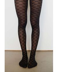 Urban Outfitters Anya Checkered Tight - Black