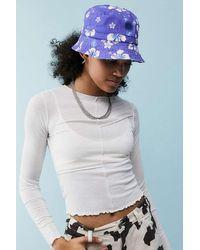 Urban Outfitters Uo Bubble Logo Hawaiian Print Canvas Bucket Hat - Blue