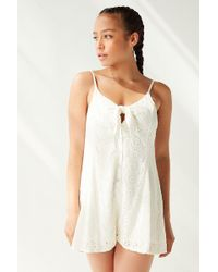 Urban Outfitters - Uo Nova Eyelet Tie-front Romper - Lyst
