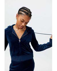 Juicy Couture Embellished Velour Zip-up Hoodie Track Jacket - Blue