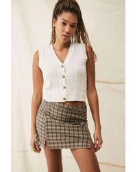 Urban Outfitters Uo Check Notch Mini Skirt - Brown