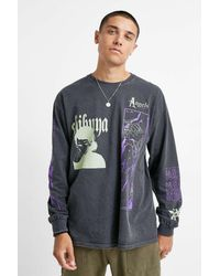 Urban Outfitters Uo Comic Washed Black And Lime Long-sleeve T-shirt