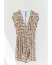 Urban Outfitters Uo Arden Plunging Ruched Romper - Multicolor
