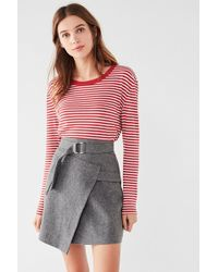 EVIDNT Evidnt Geometric Belted Wrap Skirt - Gray