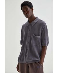 Standard Cloth Textured Stitch Polo Shirt - Gray