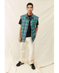 Urban Outfitters Uo Sleeveless Multi Check Shirt - Blue