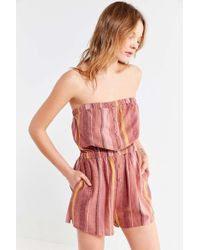 Urban Outfitters - Uo Button-through Linen Tube Top Playsuit - Lyst