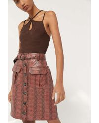 Urban Outfitters Uo Finley Snake Print Button-front Skirt - Multicolor