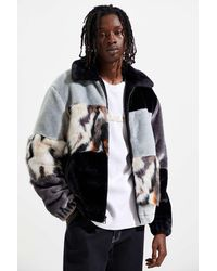 Urban Outfitters Uo Blocked Faux Fur Bomber Jacket - Black