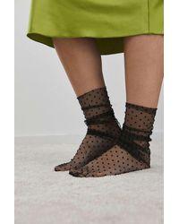 Urban Outfitters Micro Dot Mesh Socks - Black