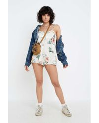 69362811558 Urban Outfitters - Uo Highland Ruffle Tie-shoulder Babydoll Playsuit -  Womens M - Lyst