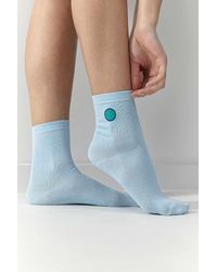 Urban Outfitters Uo Embroidered Earth Crew Socks - Blue