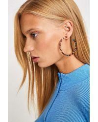 Urban Outfitters - Tortoise Resin Thin Hoop Earrings - Lyst