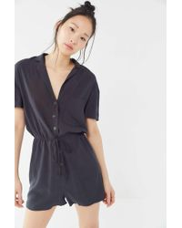 aaf81f2f63c6 Urban Outfitters - Uo Dad Collared Button-front Romper - Lyst