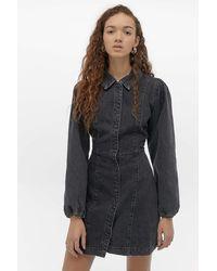 Free People Mia Denim Mini Dress - Black