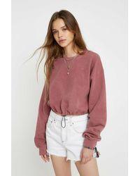 iets frans Überfärbtes Sweatshirt mit Ballonsaum - Rot