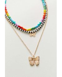 Urban Outfitters - Butterfly Beaded Layer Necklace - Lyst