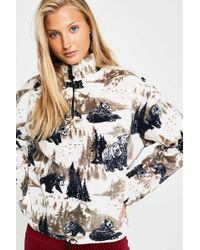 Urban Outfitters - Uo Bear Print Fleece Pullover Track Top - Lyst