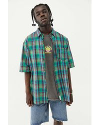 Urban Outfitters Uo Green & Blue Check Short Sleeve Shirt