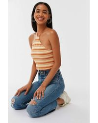 Urban Outfitters Uo Racer Y-neck Halter Cropped Top - Multicolor