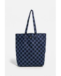 BDG Checkerboard Denim Tote Bag - Blue