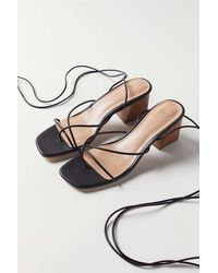 Urban Outfitters Uo Kendal Strappy Heeled Sandal - Black